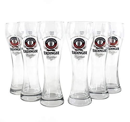 ERDINGER Weissbier Gläser 6x0,5l Weizen-Glas geeicht ~mn 495 6i2l