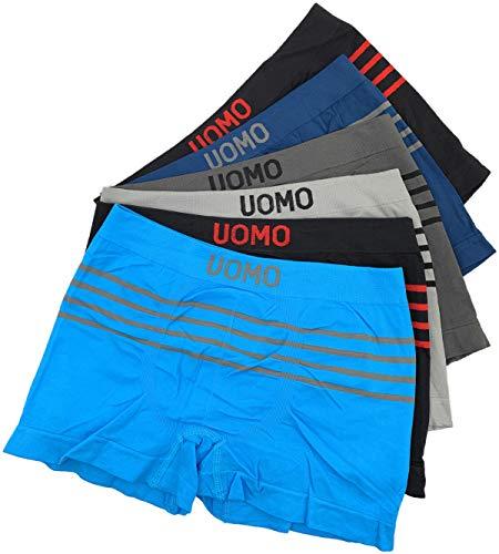 Laake 6 Stück Jungen Boxershorts Unterhosen Microfaser Retro-Pants Jungenshorts Schlüpfer Uomo Unifarben Sport (Streifen-01, 128-140)