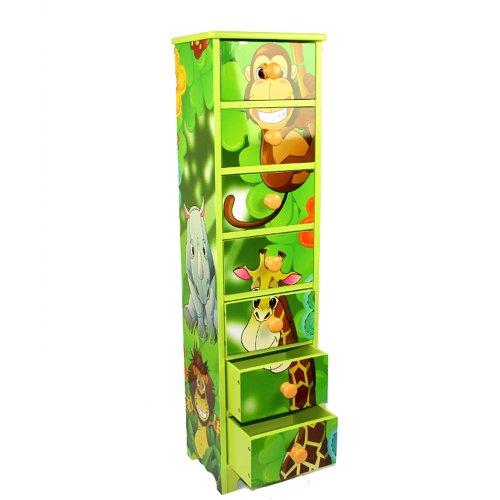 Homestyle4u 770 Kinderkommode Kinderschrank Dschungel mit 7 Schubladen Fächer aus Holz in Grün für das Kinderzimmer B x H x T: 23 cm x 86 cm x 18 cm