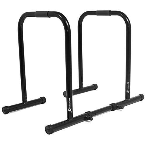 ProsourceFit Dip Stand Station, Heavy Duty Ultimate Body Press Bar for Tricep Dips, Pull-Ups, Push-Ups, L-Sits-Black