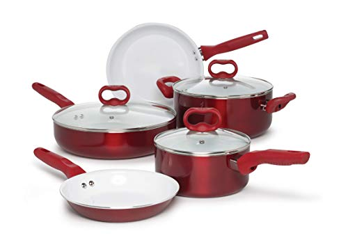 Ecolution Bliss Ceramic Easy Clean Pots and Pans With Nonstick Interior Cookware Set With Stay Cool Handles, 8 Piece, Red
