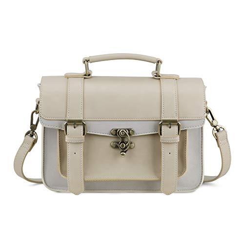 ECOSUSI Damen Kleine Umhängetasche Vintage Handtasche Schultertasche Crossbody Bag Beige