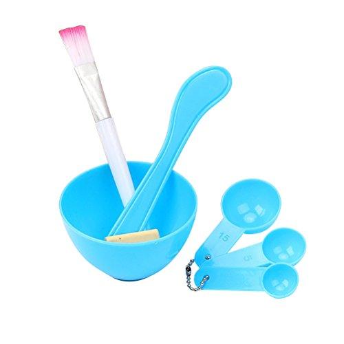 4 en 1 bricolage masque facial bol brosse bâton de mesure cuillère en plastique (couleur aléatoire)
