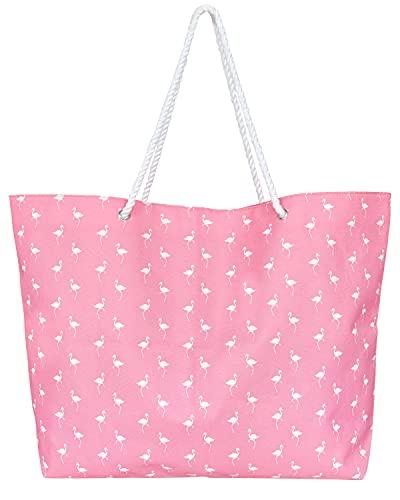 Wende Große Strandtasche - Flamingo Muster, Griffe aus Seilmaterial, perfekte Umhängetasche für Strand, Schwimmbad oder Reisen 58 * 13 * 38cm XXL