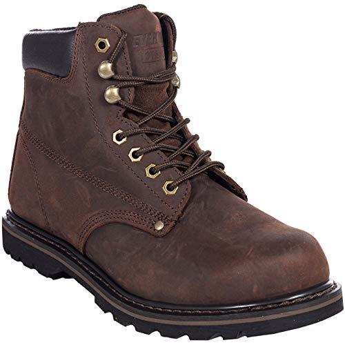 Men's Steel Toe Work Boots for Construction Safety Industrial Tank S (13 Medium, Darkbrown)