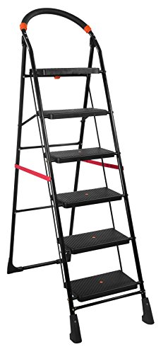 TRENDY Black Milano Ladder 6 Steps with with Load Capacity upto 150 kg Anti-Skid PVC Shoe, Clutch Lock and Knee Guard a multipurpose folding step ladder for home and office use - height 6.1 Ft made in india along 10 years warranty