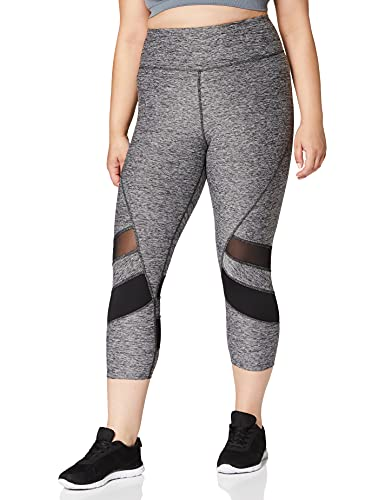 Amazon Brand - AURIQUE Leggings deportivos capri con paneles para mujer, Gris (Grey Marl/Black), 36, Label:XS