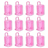 AUEAR, 12 Pack Cute Miniature Travel Case Box Candy Box Party Reception Candy Toy Gift Box Suit for Barbie Wedding Party Decoration (Pink)