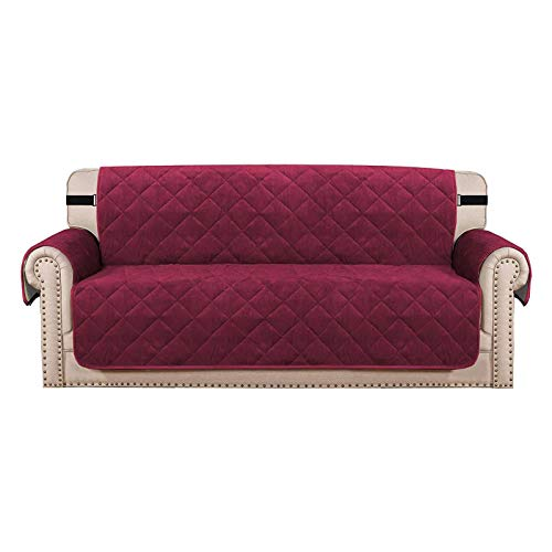 HUANXA Velvet Quilting Sofa Slipcover, Anti-Slip Sofa Covers With Side Pockets Armchair Covers Cushion Couch Covers Couch Slipcover Furniture Protector-Wine red-4 Seater