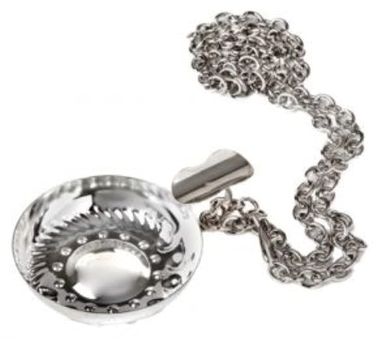Silver Tone Metal Tastevin Cellarman's Wine Tasting Cup with Chain Set