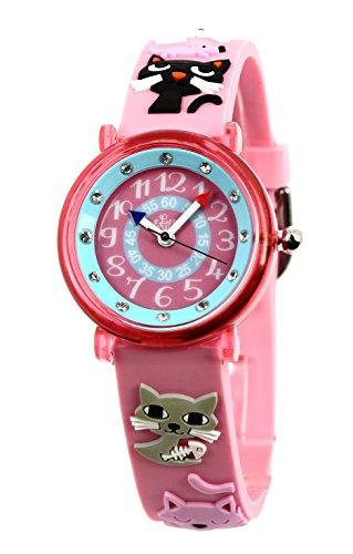 Baby Watch - 3700230606146 - Montre ZAP Chats - Montre Fille - Quartz Pédagogique - Cadran Rose -...