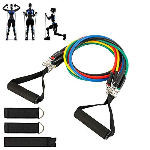 ZEH 10pcs Widerstand-Bänder Set, Training Exercise Tubes Zugseil Elastic Übungen Workout Ausrüstungs-Zugseil FACAI