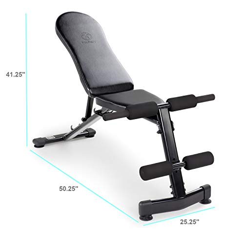 Marcy Multi-Purpose Adjustable Workout Utility Weight Bench for Full Body Upright, Incline, Decline, and Flat Exercise SB-228