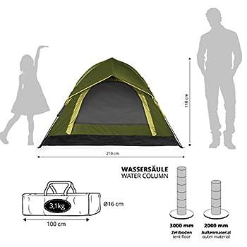Lumaland Tente Outdoor de Camping Dôme Pop-up légère 3 Personnes Camping 210x110cm Vert