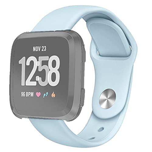 Correa de Reloj para Fitbit Versa 2 / Fitbit Versa/Fitbit Versa Lite Correa de Reloj de Repuesto de Silicona de Color sólido, tamaño: S (Blanco) (Color: Rosa Arena)