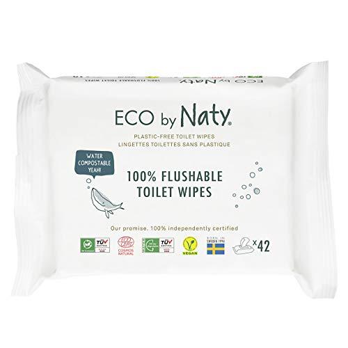 Eco by Naty Toallitas Desechables en el Inodoro para bebé, 504 unidades (12 paquetes de 42), Toallitas húmedas compostables hechas a base de fibras vegetales. 0% plástico. Sin sustancias nocivas.