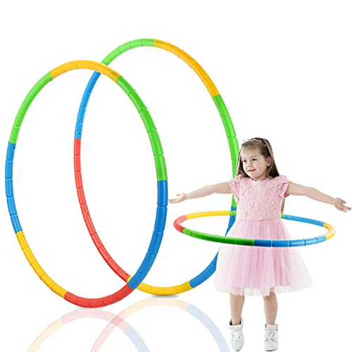 Herefun Hula Hoop per Bambini, Hula Hoop Fitness, Cerchio di Fitness 8 Sezioni Rimovibile, Perdita Peso Hula Hoop Adatto Ai Adulti e Bambini per Ginnastica, Sport e Divertimento (Hula Hoop)
