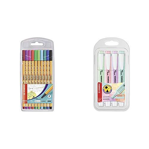 Fineliner, Stabilo Point 88, Astuccio Da 10 Exclusive Edition, Colori Assortiti & Evidenziatore, Stabilo Swing Cool Pastel, Astuccio Da 4, Colori Assortiti
