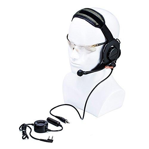 Zeadio On-Ear-Headset mit schwenkbarem Galgenmikrofon und strapazierfähigem PTT für 2-poligen Kenwood Baofeng PUXING Walkie Talkie Zwei-Wege-Radio