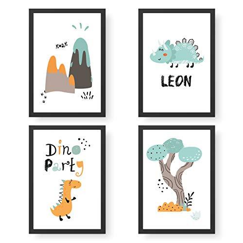 Papierdrachen 4 Premium Poster DIN A4 | Personalisierte Wandbilder für Kinderzimmer - Dino - hochwertige individualisierbare Kunstdrucke | Dekoration | Wandbild mit Namen