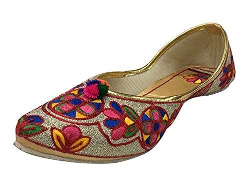 Damen Flach Ballerina Punjabi Jutti Khussa Schuhe Ethno Phulkari Schuhe Perlen Schuhe, Mehrfarbig - mehrfarbig - Größe: 40.5 EU