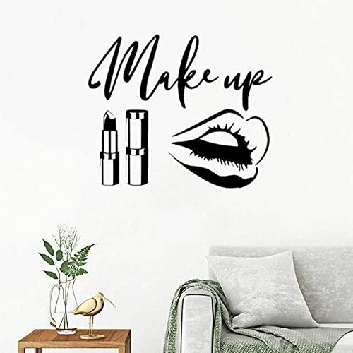 Maquillaje Lápiz Labial Pegatinas De Pared Salón De Belleza Calcomanías Artísticas De Pared Para Habitaciones De Niñas Papel Tapiz De Vinilo Diy Decoración Del Hogar 42 * 50Cm