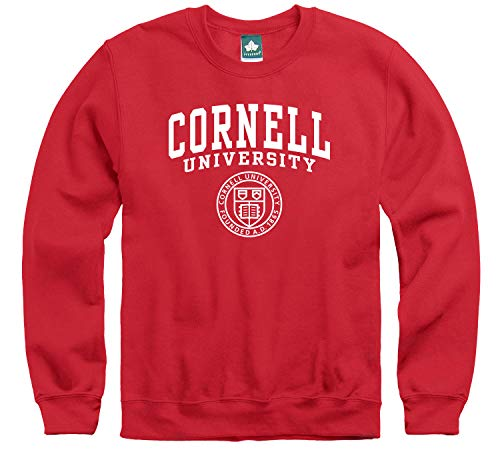 Ivysport Cornell University Crewneck Sweatshirt, Heritage Logo, Red, Medium, Cotton Poly Blend for Men and Women, NCAA Officially Licensed Authentic Premium School Apparel