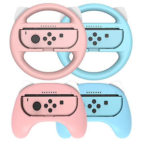 Joy-Con Lenkrad und Griff für Joy-con Controller, Switch Lenkrad, Joy-Con Hand Griff für Nintendo Switch Joy-con Controller/Mario Kart Game, 4 Packs Nintendo Switch Zubehörsets, Pink und Blau