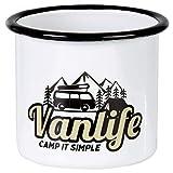 Tasse en émail avec Design campingbus   pour Le Camping, Vanlife, Campervan   300ml   MUGSY.de