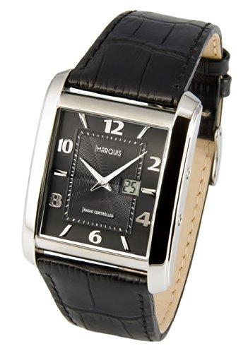 Elegante MARQUIS Herren Funkuhr (Junghans-Uhrwerk) Schwarzes Lederarmband, Gehäuse aus Edelstahl 983.4715