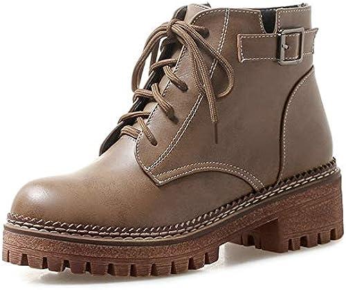HOESCZS 2019 Nuevo Llega Moda zapatos de mujer Botines plataforma Tacón Cuadrado Casual zapatos de Invierno botas de mujer Tamaño Grande 34-43