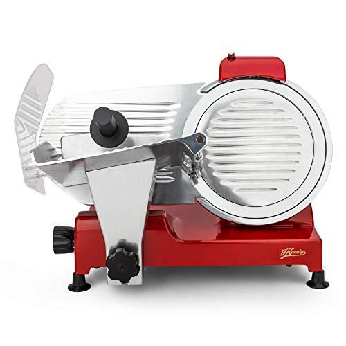 H.Koenig Trancheuse électrique à jambon, viande, saucisson, charcuterie MSX254, professionnelle, précise, épaisseur de la coupe 0-12 mm, lame italienne 25 cm, aiguiseur intégré, large plateau, 282 rpm