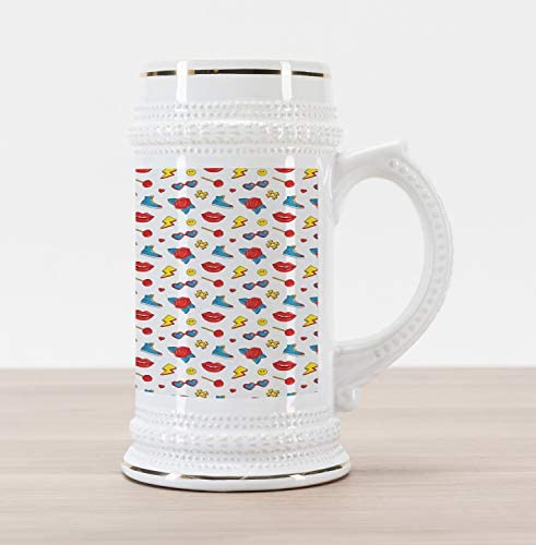 Ambesonne Emoticon Beer Stein Mug Hipster Pop Art Theme 90s Fashion Comic Book Lollipop Shoes product image