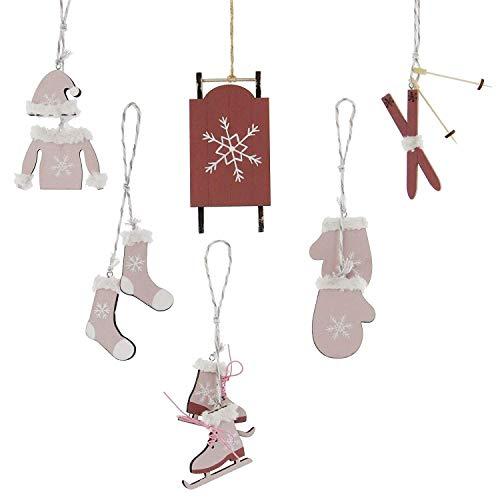 khevga 6er Set Christbaumschmuck Wintersport Weihnachtsanhänger aus Holz rosa-rot
