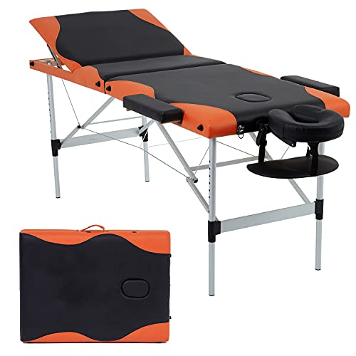 Massage Table Spa Bed Massage Bed 3 Fold 84 Inch Height Adjustable Aluminium Massage Table Portable Facial Salon Tattoo Bed W/Face Cradle Carry Case