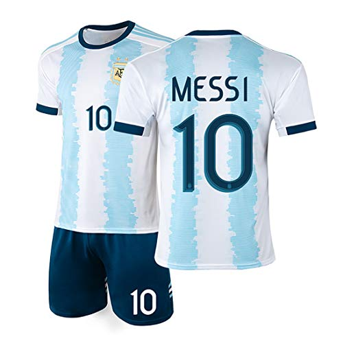 YANDDN Argentina Camiseta 19-20 America's Cup Messi 10# Uniforme de fútbol Uniforme del Equipo Nacional, se Puede Limpiar repetidamente-17White-M