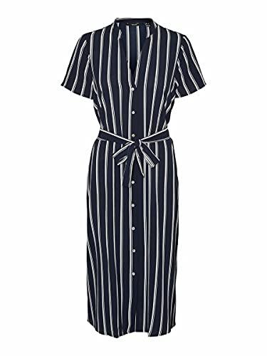 Vero Moda VMSAGA SS Calf Shirt Dress GA AOP Vestito, Navy Blazer 2, M Donna