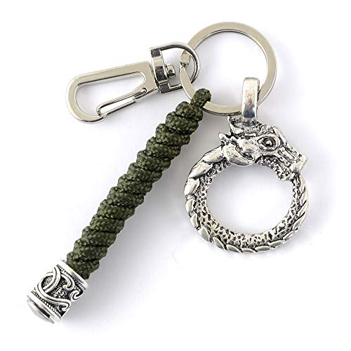 Viking Celtic Dragon Paracord Keychain-Norse Scandinavian Amulet Keyring Armygreen Paracord Handmade Keychain Lanyard for men Jewelry Gifts