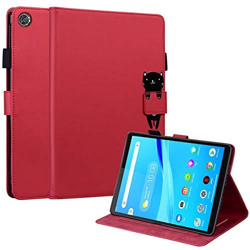 DodoBuy Funda para Lenovo Tab M8 de 8 pulgadas HD, Animal Modelo Flip Magnético Wallet Case Proteccion Cover Carcasa Piel PU Billetera Soporte con Ranuras Tarjetas - Gato Rojo