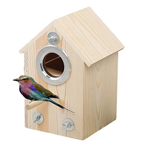Nistkasten für Sittiche, Holz-Zuchtkasten, Vogelhaus für Unzertrennliche, Papageienkasten, 19 x 16 x 26 cm