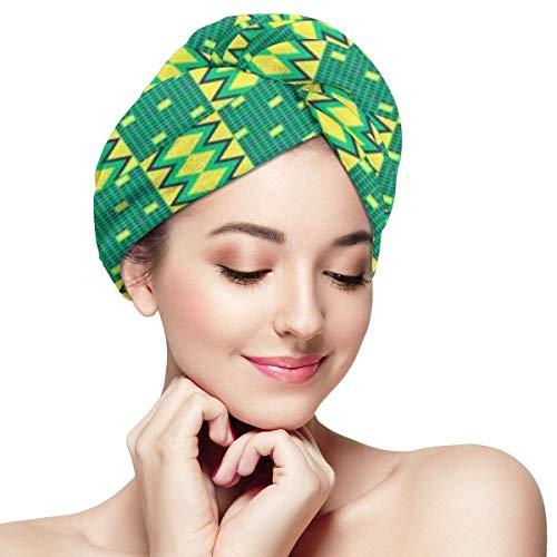 QHMY Quick Magic Dryer, Tissu Kente Ethnic Fiber Shower Dry Hair Hat, Wrapped Bath Cap, African