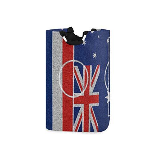 ZOMOY Multifunktionale Faltbarer Schmutzige Kleidung Wäschekorb,Flaggen Thailand Australien auf Fußballplatz,Household Wäschebox Spielzeug Organizer Aufbewahrungsbeutel mit Henkel
