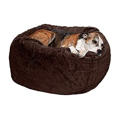 Furhaven Pet Dog Bed - Round Plush Faux Fur Refillable Ball Nest Cushion Pet Bed with Removable Cover for Dogs and Cats, Espresso, Large