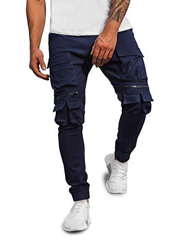 OZONEE Herren Chino Hose Chinos Lang Stoffhose Jogger Chinohose Pants Cargohose Cargo Freizeithose Arbeitshose Sporthose Slim Fit Regular Casual Stretch Taschen G/2787 DUNKELBLAU M