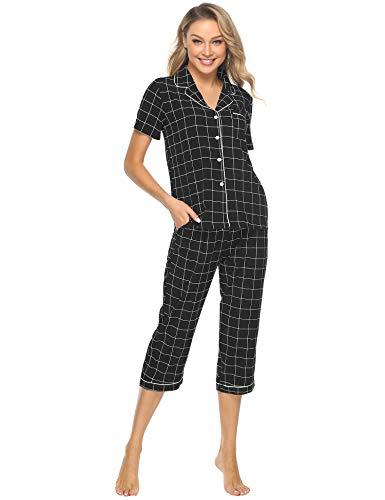 iClosam Damen Sommer Karierte Pyjama Set, Zweiteiliger Schlafanzug mit Knopfleiste Verschluss, Kurzärmel Shirt + 3/4 Hose