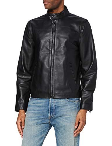 Schott NYC Veste Motard Chaquetas de cuero, Black, S para Hombre