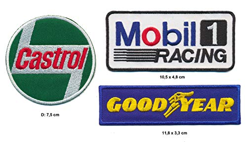 Castrol Good Year Mobil Aufnäher 3 Stück Racing Motorsport Rennsport