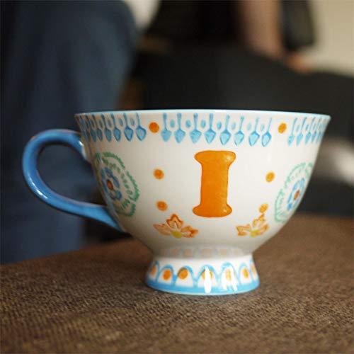 Becher Kaffeetassen Tassen Keramische Handgemalte Bunte Englische Buchstaben Großer Lippenstift-Teetasse-Teebecher, Handgemalte I-Schale