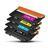 TonerKingdom 117A Cartuchos de Tóner compatibles, con Chips, Compatibles con HP Color Laser 150a 150w 150nw MFP 178nw 178nwg 179fnw 179fwg, Juego de 4 Colores W2070A W2071A W2072A W2073A (Pack de 4)
