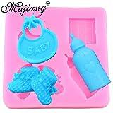 NMLB Moldes de Fondant de Silicona para biberones 3D para bebés, Herramientas de decoración de Pasteles para Fiestas de bebés, moldes de Chocolate y Pasta de Caramelo